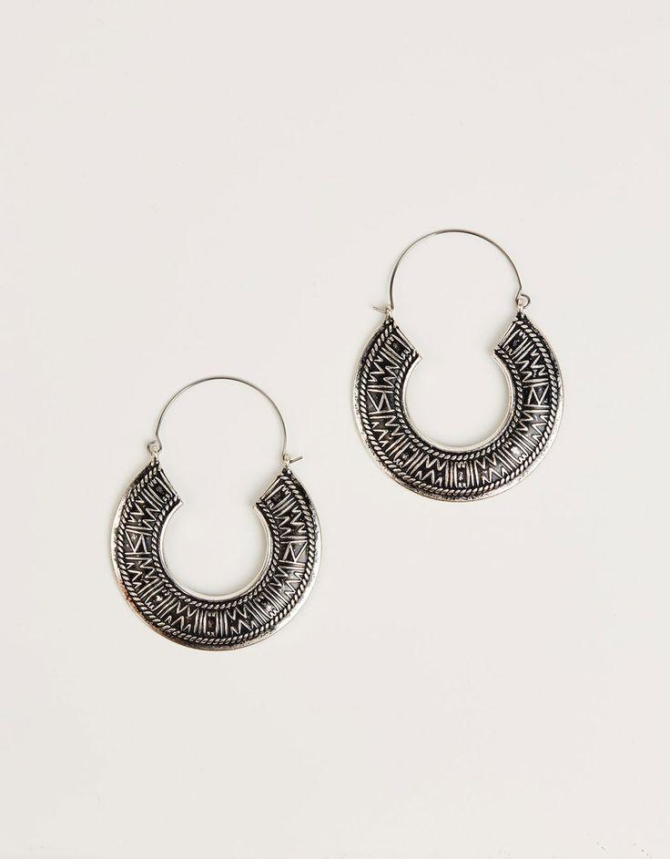 Embossed bohemian hoop earrings - Accessories - Bershka United Kingdom