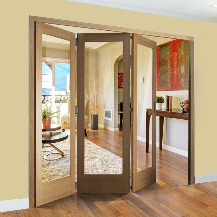Freefold Oak Pattern 10 Style Folding 3 Door Set with Clear Glass will look great within & 32 best Tri Fold Doors images on Pinterest | Door sets Tri fold and ...