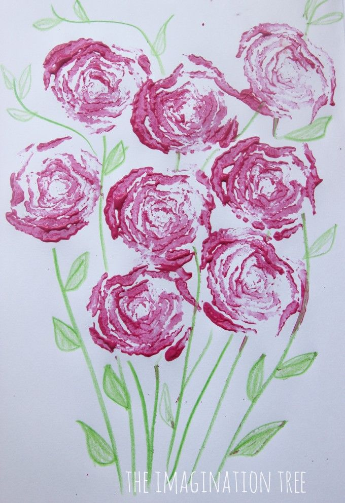 Printing Roses with Celery Stalks