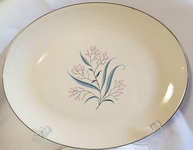 "Mid Century Platter Alliance Regal Pink Flowers Aqua Leaves Gold Large 13.5"" #Alliance #regal #midcentury #dinnerware #aqua #pink"