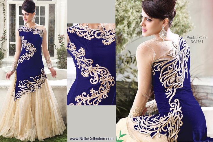 Zoya Cream and Blue Velvet, Embroidered Long Anarkali Cholis with Net works and Dupatta only from Nallu Collection online.
