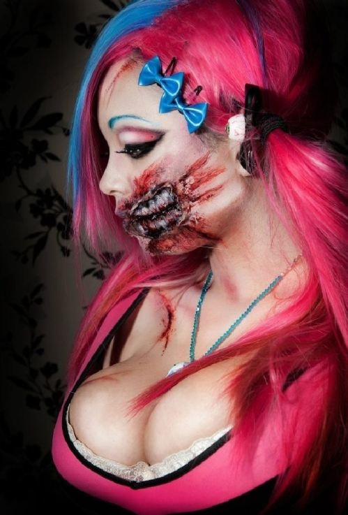 Alice Bizarre is a 20 year-old makeup artist from Bristol, UK. She's quickly becoming one of the top zombie and horror makeup artists around. Enjoy her work.