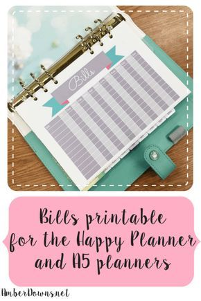 FREE bills printable for the Happy Planner and a5 planners. Perfect for Filofax, kikki k, personal, and weekly planners