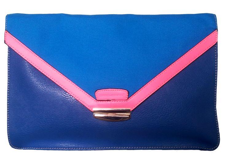 David Jones Clutch Bag Blue / Neon Pink
