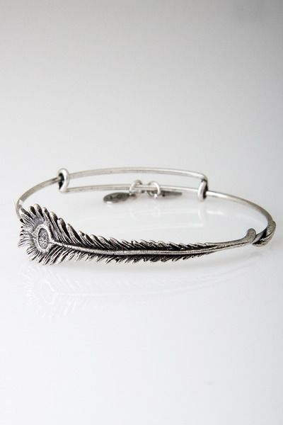 oh love! alex and ani ~ peacock feather bangle in silver. 58
