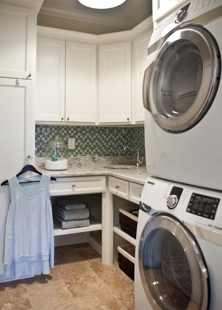 This Small Laundry Room Has Everything You Need To Fold Fluff And Iron Custom Shelving Pretty Countertops A Utility Sink Work Together Bring