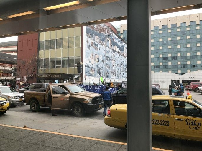 Downtown Anchorage. Pebble Mine Protesters. #anchorage, #alaska, #pebblemine, #protesting, #taxiservice, #nativeamericanpride, #pollution