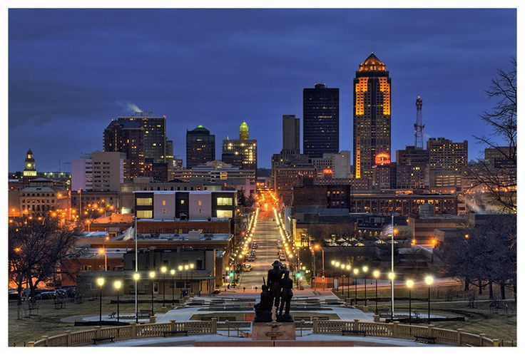 Downtown Des Moines at night. The jewel of the Midwest