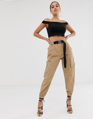 4a1dedb4 DESIGN high waist combat pants with belt in 2019 | Fashion