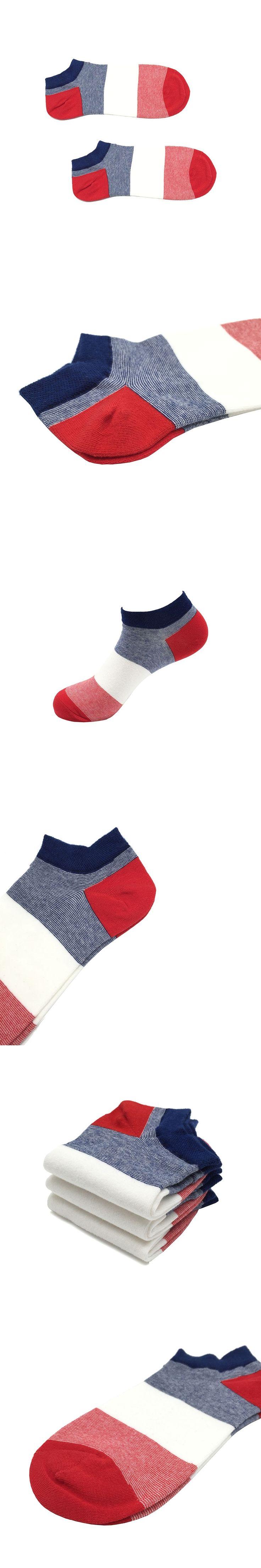 2 Pairs Mens Red Stripe Socks Cotton Ankle Socks Lot Short Socks Striped