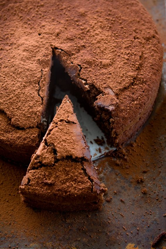 Nigel Slater's Chocolate Espresso Cake recipe (brewed coffee, coffee or espresso powder, hazelnut flour, baking powder, sea salt, butter, sugar, vanilla extract and eggs).