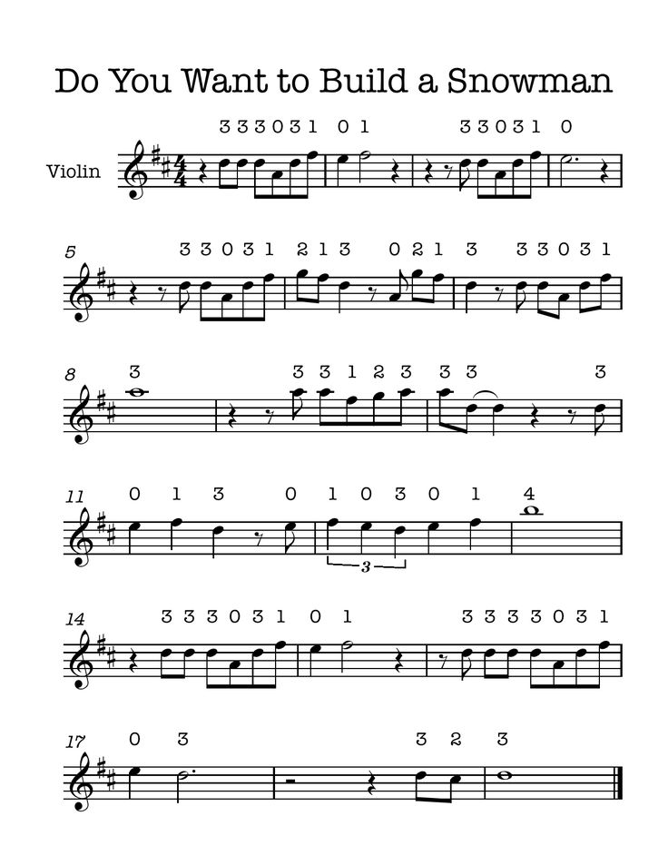 Violin Music: Do You Want to Build a Snowman (from the movie Frozen) for beginning violin. Happy music making!