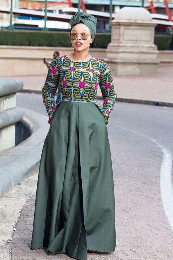 Robe à imprimé africain vert armée robe par EssieAfricanPrint