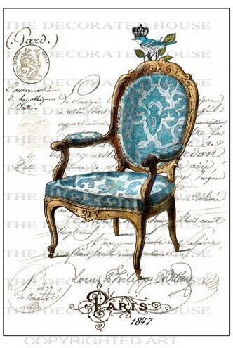 French Chair Art Print Blue French Script by TheDecoratedHouse, $19.00