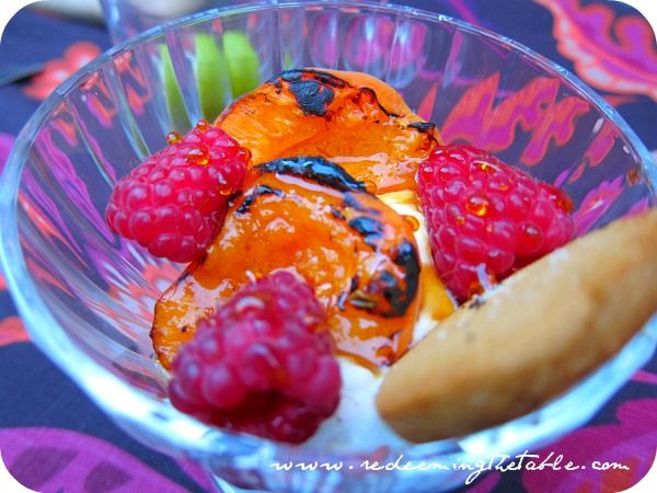 Grilled apricots with fresh raspberries and marscapone cheese and ...