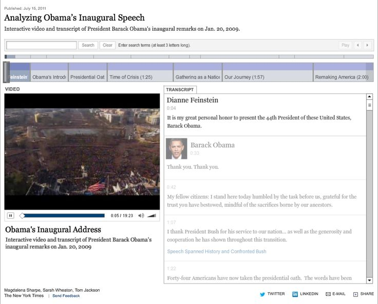 Analyzing Obama's Inaugural Speech by The New York Times