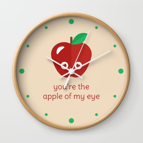 You're the Apple of My Eye Wall Clock - pun, puns, apple, apples, fruit, golden delicious, red, macintosh, food, funny, cute, love, relationship, tasteful, tasty, relationships, valentine, valentines, vector, art, illustration, drawing, design