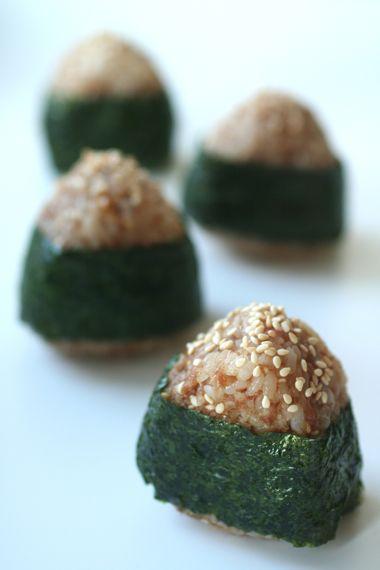 Okaka Omusubi (Onigiri) - Rice, Katsuobushi Bonito Flakes, Soy Sauce (and just a little bit Sugar), Nori, Sesame