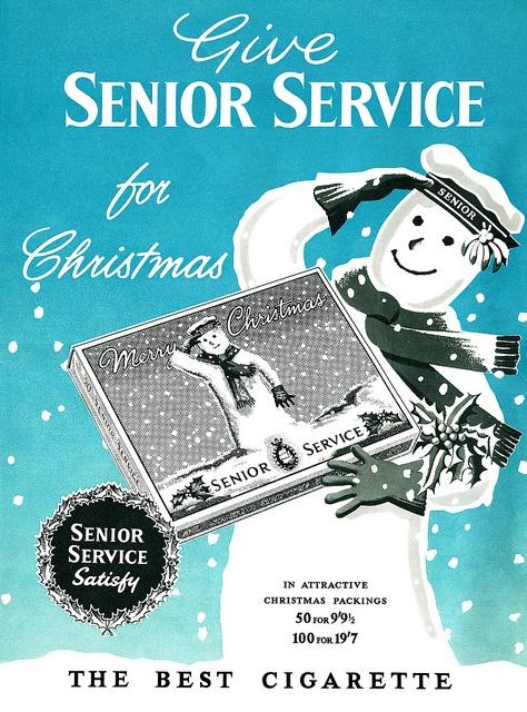 "Give ""Senior Service"" for Christmas Cigarette Ad."