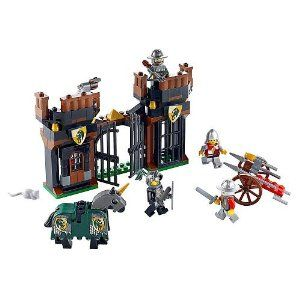 LEGO Kingdoms Escape From Dragon's Prison 7187 by LEGO. $49.98. Weapons include functioning catapult and flick shooter on ballista. Set includes 4 minifigures:  2 King?s Knights and 2 Dragon Knights. Fully armoured horse also included. Real tower prison. 185. From the Manufacturer                Rescue the knight from the Dragon Knight prison!  The evil Dragon Knights are holding one of the King's Knights captive in their prison and another knight has been sent to res...