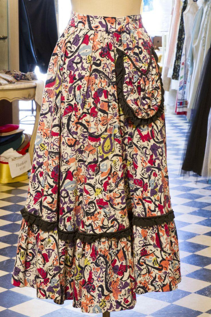 Cabaret Vintage - Ladies Vintage Skirt with Black Frill, $125.00 (http://www.cabaretvintage.com/vintage-skirts/ladies-vintage-skirt-with-black-frill/)  #vintageskirt  #vintage #dressvintage #shopping #vintagestore #vintagefashion #ilovevintage #vintagelove #vintagegirl #vintageshopping #vintageclothing #vintagefinds #vintagelover #vintagelook #followme #skirtoftheday #ootd #shopitrightnow #instastyle #torontovintage #toronto #queenwest #cabaretvintage