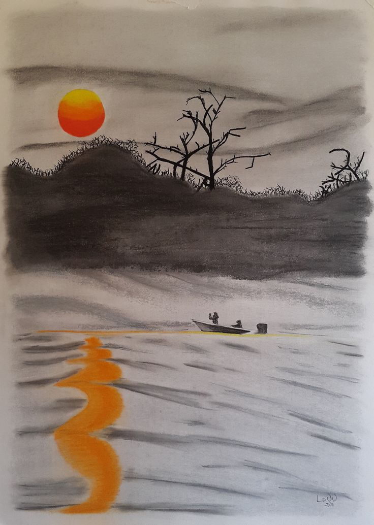 Sunset on Chobe River, Botswana. Pastel painting, A2 paper. Photograph taken by the artist.