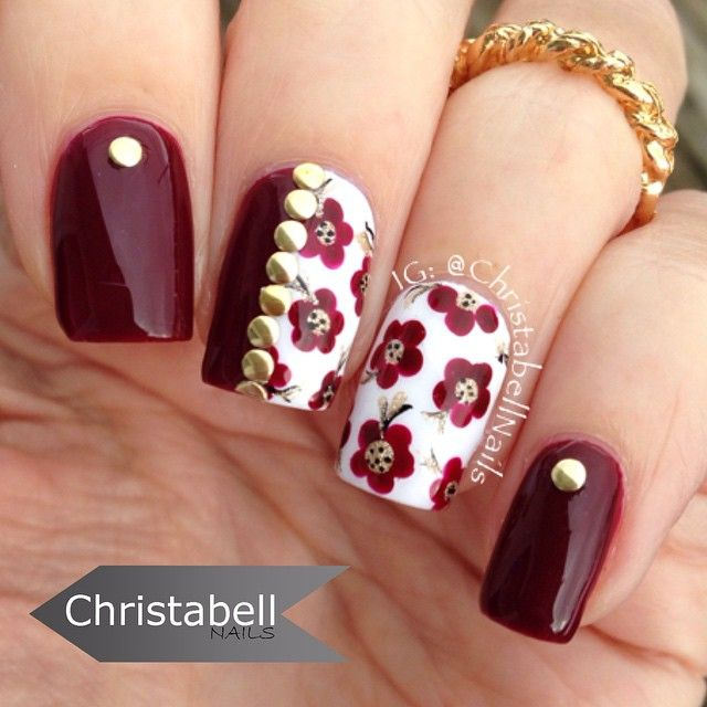 Nail art floreale di Christabell Nails - pic @Christabellnails    http://www.ladyqueen.com/gold-silver-nail-art-metal-stud-shape-3d-nail-art-decorations-set-kit-wheel-na0165.html