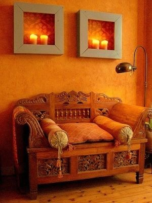 Warm Orange Wall Color For Nook The Candle Holders Would Be Easy To  Recreate; Deep Frame With With Painted Backing.