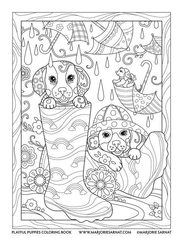 Rain Pups : Playful Puppies Coloring Book by Marjorie Sarnat