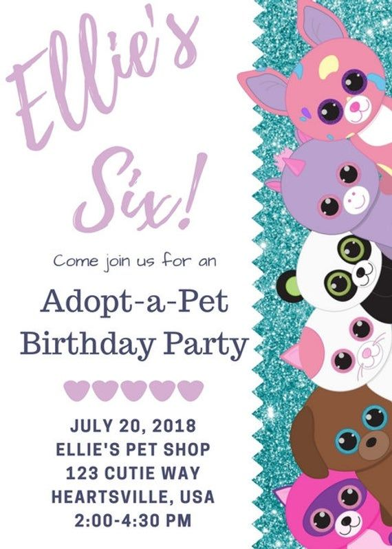 Adopt A Pet Beanie Boo Invite For