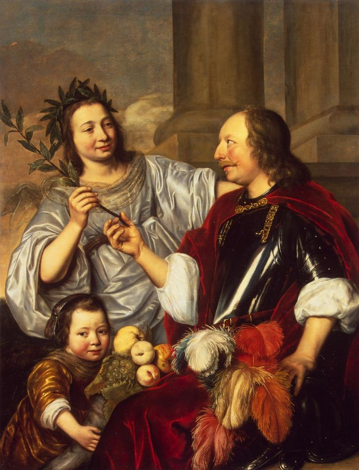 Брай, Ян де (?) 1626-1697 Аллегорический семейный портрет  Голландия, 1670 холст масло 138 x 101 см. Коллекция Государственного Эрмитажа.