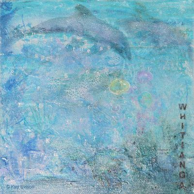 Making Bubbles This blue mixed media artwork was inspired by our recent move to the beautiful Coromandel Peninsula and its proximity to the ocean, the dolphins and all the beauty that nature brings.