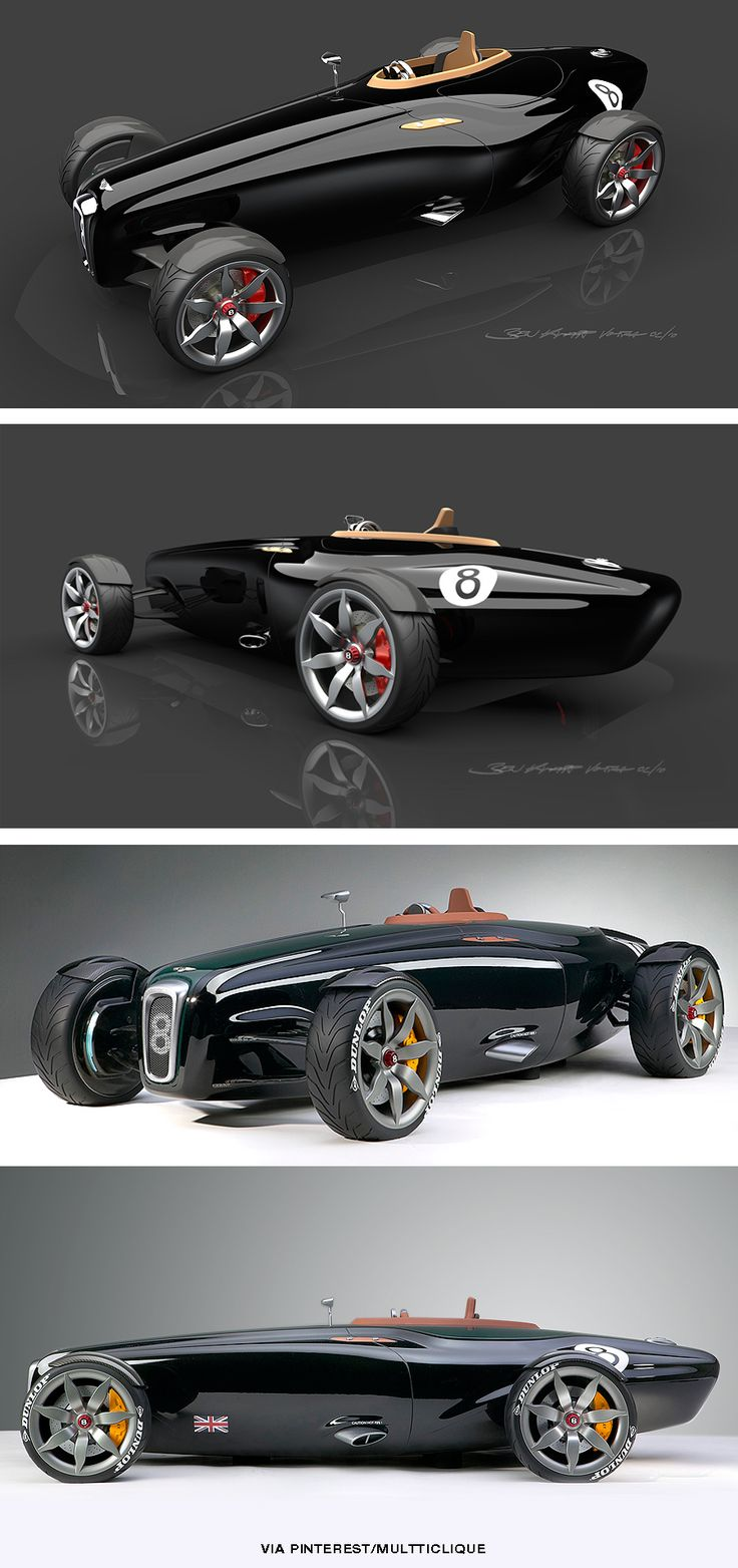 "The Bentley Barnato Roadster was designed to evoke the spirit of the original racing Bentley's, the cars that had superchargers bolted onto the front and went belting around Brooklands setting new speed records and winning races whilst being derisively dubbed ""the fastest trucks in the world"" by Ettore Bugatti."