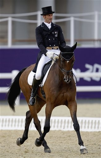 London Olympics Equestrian  July 29Mark Todd of New Zealand, and his horse Campino, compete in the equestrian eventing dressage phase at the 2012 Summer Olympics, Sunday, July 29, 2012, in London. (AP Photo/David Goldman)
