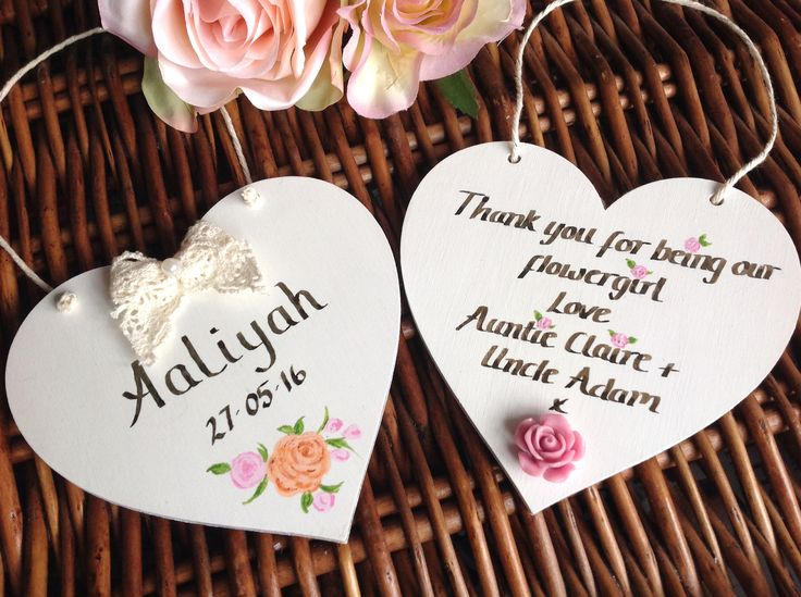 Hand-painted personalised thank you gifts from Lilly Dilly's #wedding #gift #thank you #flower girl #bridesmaid #pageboy #mother of bride #handmade #heart #plaque