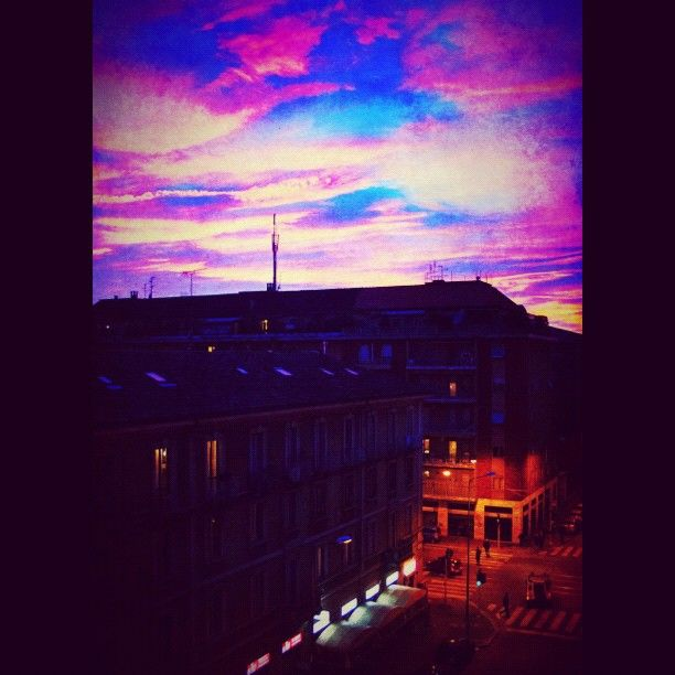 Purple sky in Milan