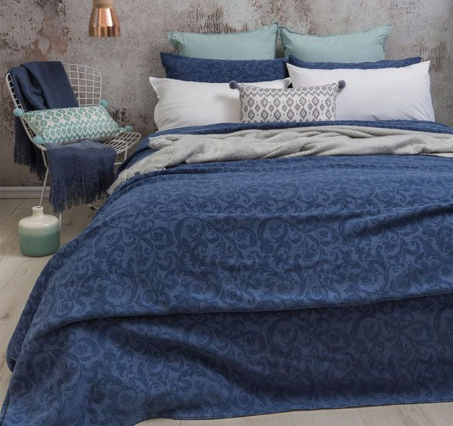 Rochelle Denim BAMBURY - Features: Cotton, Decorative chenille floral pattern, Made in Portugal from European fabric, To suit Queen, King and Super King.  Set Contains: x1 Coverlet - 240cm x 260cm, x2 Standard Pillowcases - 48cm x 73cm - #coverletsandcomforters