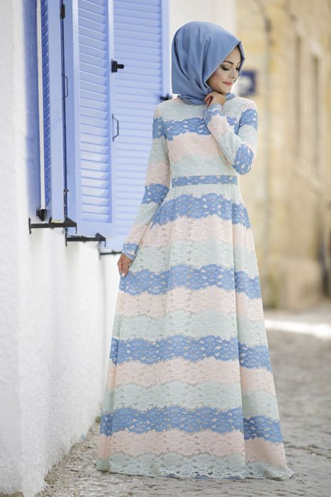 Eda Ertunç Suden Dantel Tesettür Elbise