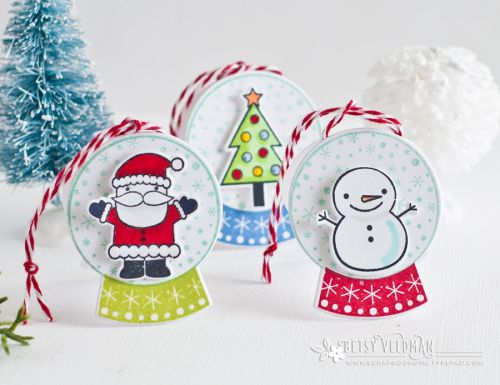 Winter Snow Globe Revisited - Snow Globe gift Tags by Betsy Veldman for Papertrey Ink (December 2016)