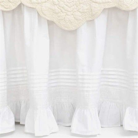 Rosenberry Rooms is offering a 10% discount on your purchase of $350 or more.  Share the news and take advantage of the savings! Louisa White Bed Skirt #rosenberryrooms