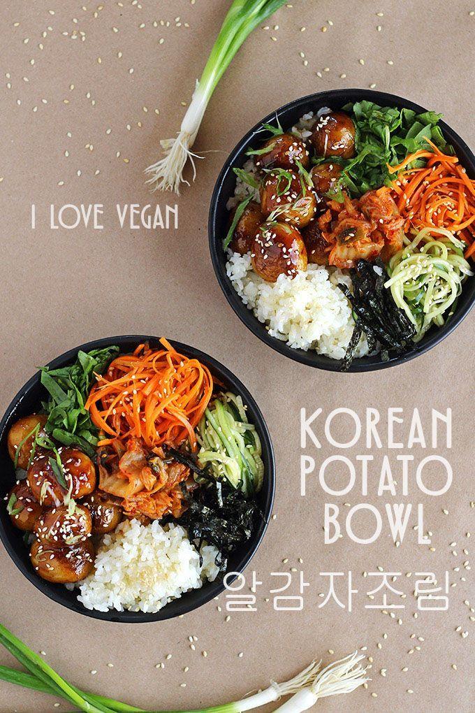 Korean Potato Bowl (Al Gamja Jorim) - http://ilovevegan.com