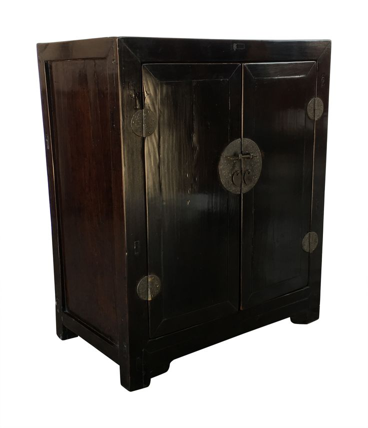 """19th century two door Chinese black lacquer cabinet 31 x 18 x 37 3/4""""H"""