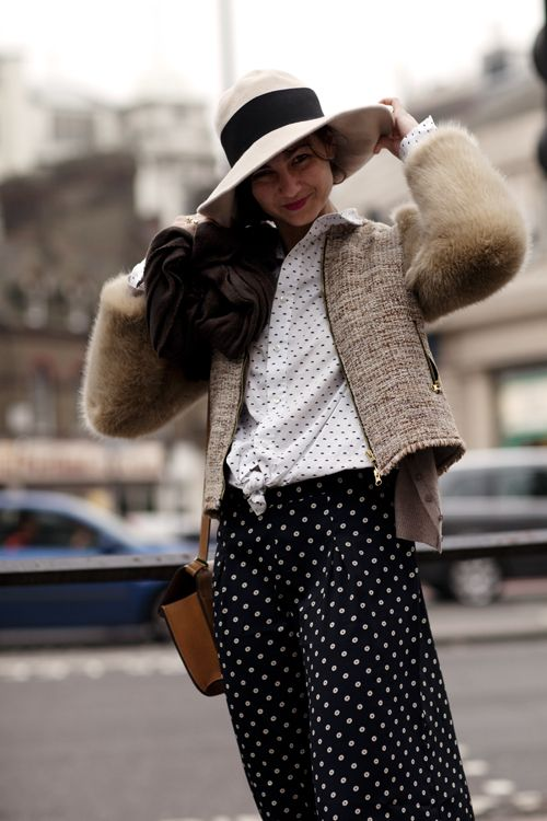What a fun look - love the hat - and sweater jacket would be a great go to piece