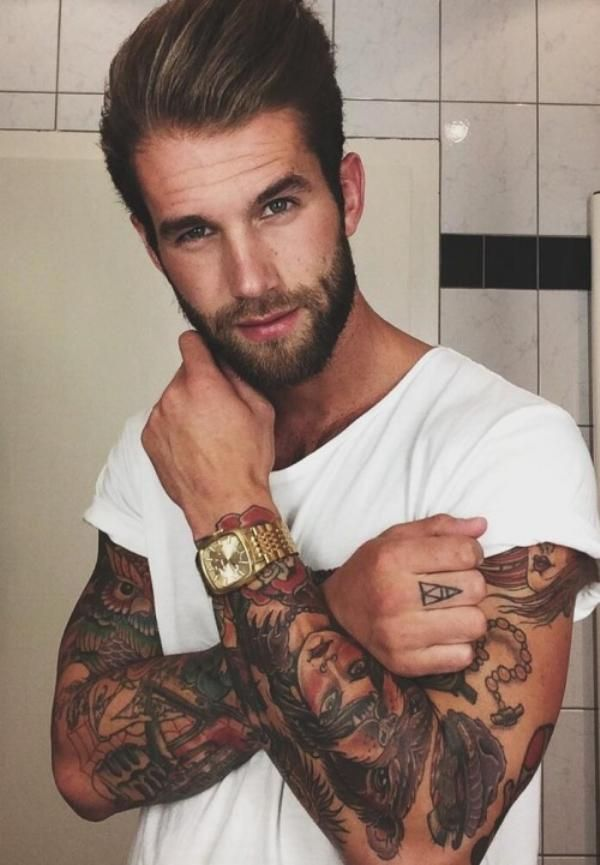 Afternoon eye candy: Hotties with tats and beards (23 photos)
