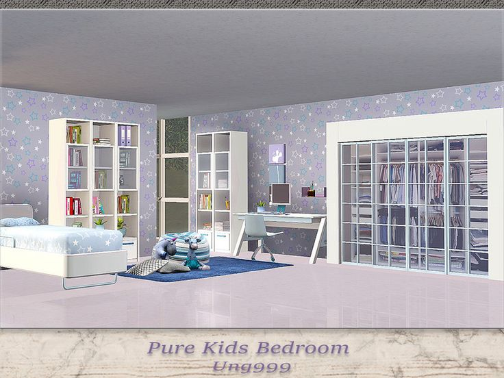Pure Kids Bedroom By (The Sims A Modern, Simple With Soft Pink And Blue And  White Accents Kids Room. Objects In This Set: Single Bed End Table Cabinet  With ...