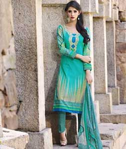 Buy Sea Green Lawn Cotton Churidar Suit 73444 online at lowest price from huge collection of salwar kameez at Indianclothstore.com.
