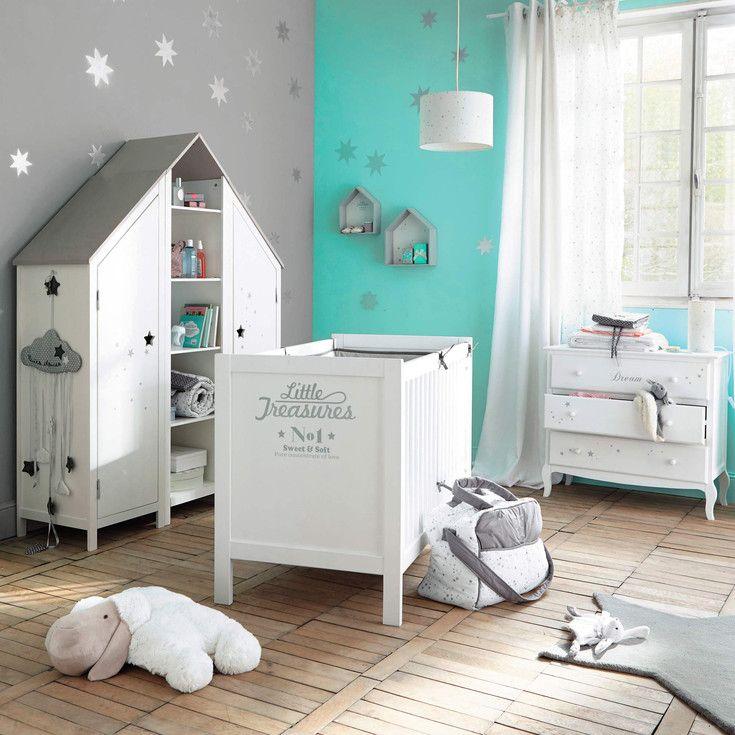 Chambre grise et turquoise -  Maisons du Monde