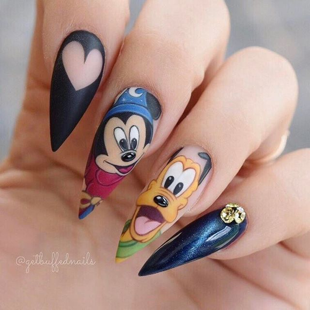Best 25 disney nails ideas on pinterest disneyland nails disneyland here i come sorcerer mickey and pluto i know its another mickey but for prinsesfo Gallery