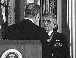 President Gerald Ford presents the Medal of Honor to Stockdale at the White House on March 4, 1976.