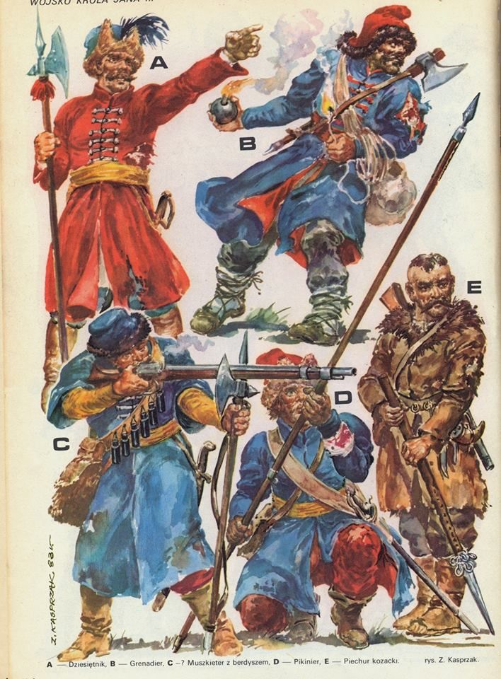 A-- Dziesiętnik, B-- Grenadier, C-- Muszkieter z berdyszem, D-- Pikinier, E-- Piechur Kozacki, (rys. Z. Kasprzak)